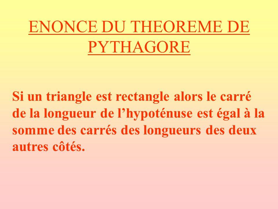 ENONCE DU THEOREME DE PYTHAGORE Si un triangle est rectangle alors le carré de la longueur de lhypoténuse est égal à la somme des carrés des longueurs des deux autres côtés.