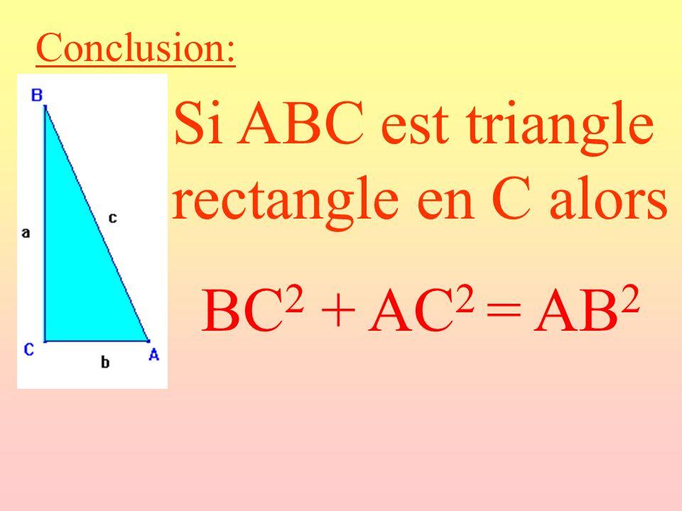 Conclusion: Si ABC est triangle rectangle en C alors BC 2 + AC 2 = AB 2