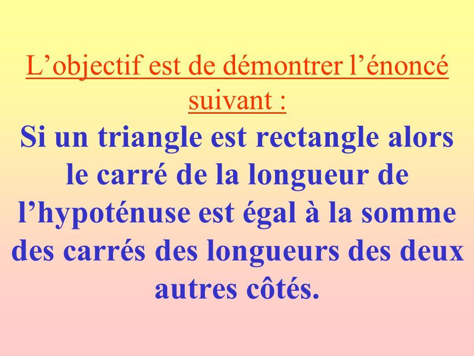 Lobjectif est de démontrer lénoncé suivant : Si un triangle est rectangle alors le carré de la longueur de lhypoténuse est égal à la somme des carrés des longueurs des deux autres côtés.