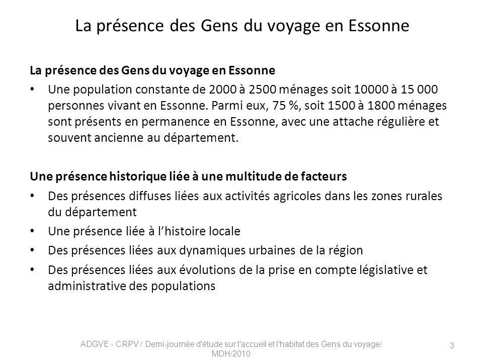 La présence des Gens du voyage en Essonne Une population constante de 2000 à 2500 ménages soit 10000 à 15 000 personnes vivant en Essonne.