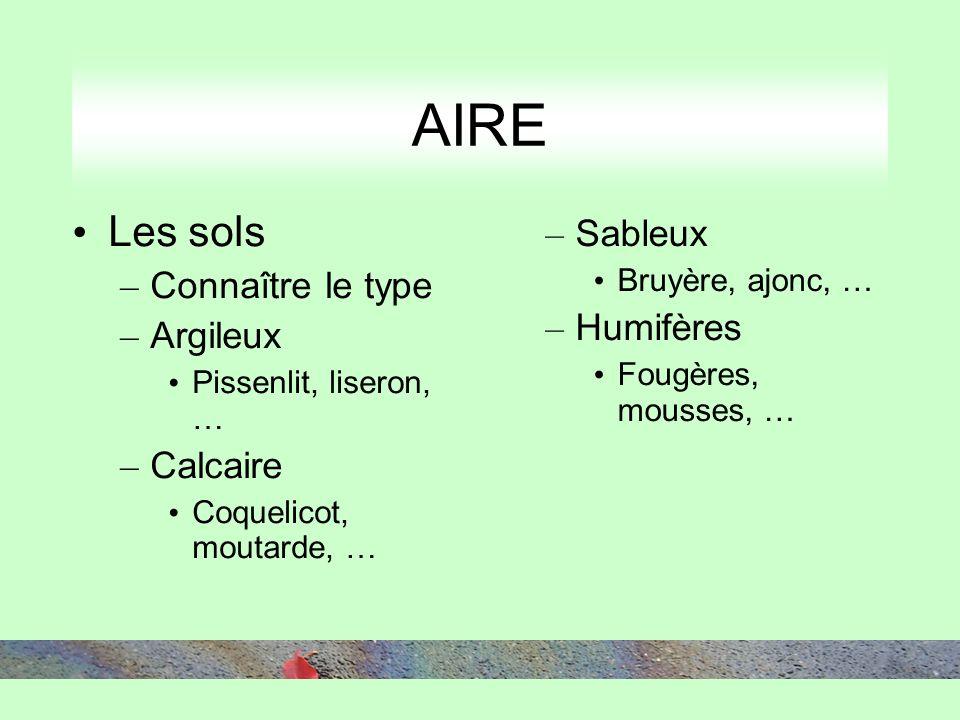 AIRE Les sols – Connaître le type – Argileux Pissenlit, liseron, … – Calcaire Coquelicot, moutarde, … – Sableux Bruyère, ajonc, … – Humifères Fougères