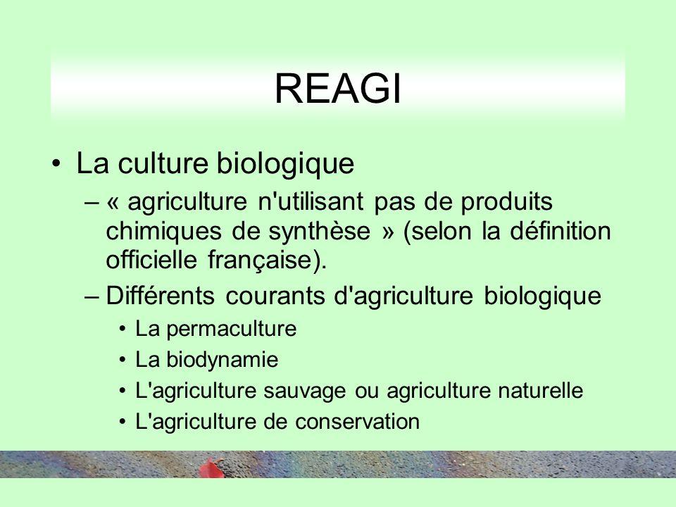 REAGI La culture biologique –« agriculture n utilisant pas de produits chimiques de synthèse » (selon la définition officielle française).