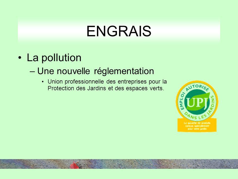 ENGRAIS La pollution –Une nouvelle réglementation Union professionnelle des entreprises pour la Protection des Jardins et des espaces verts.