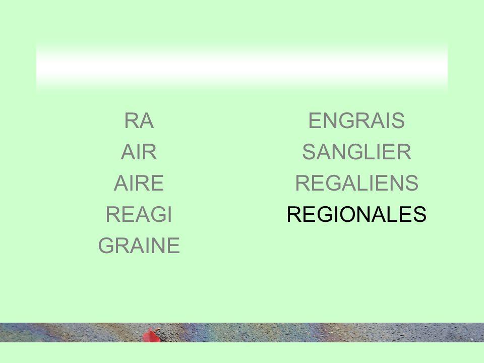 RA AIR AIRE REAGI GRAINE ENGRAIS SANGLIER REGALIENS REGIONALES