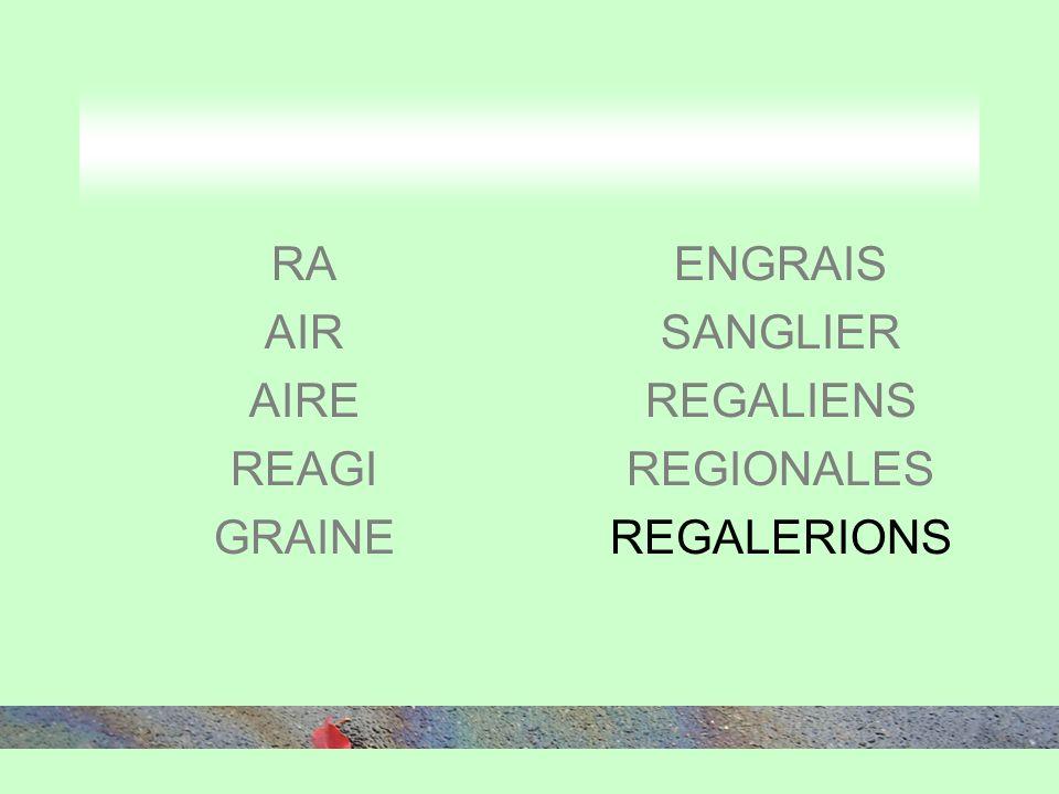 RA AIR AIRE REAGI GRAINE ENGRAIS SANGLIER REGALIENS REGIONALES REGALERIONS