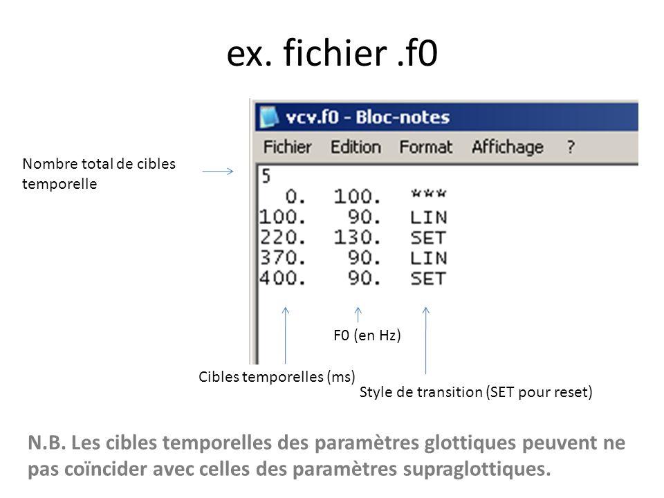 Paramètres glottiques.f0 -> F0.ag0 -> niveau de base de laire glottique.agp -> amplitude doscillation de laire glottique