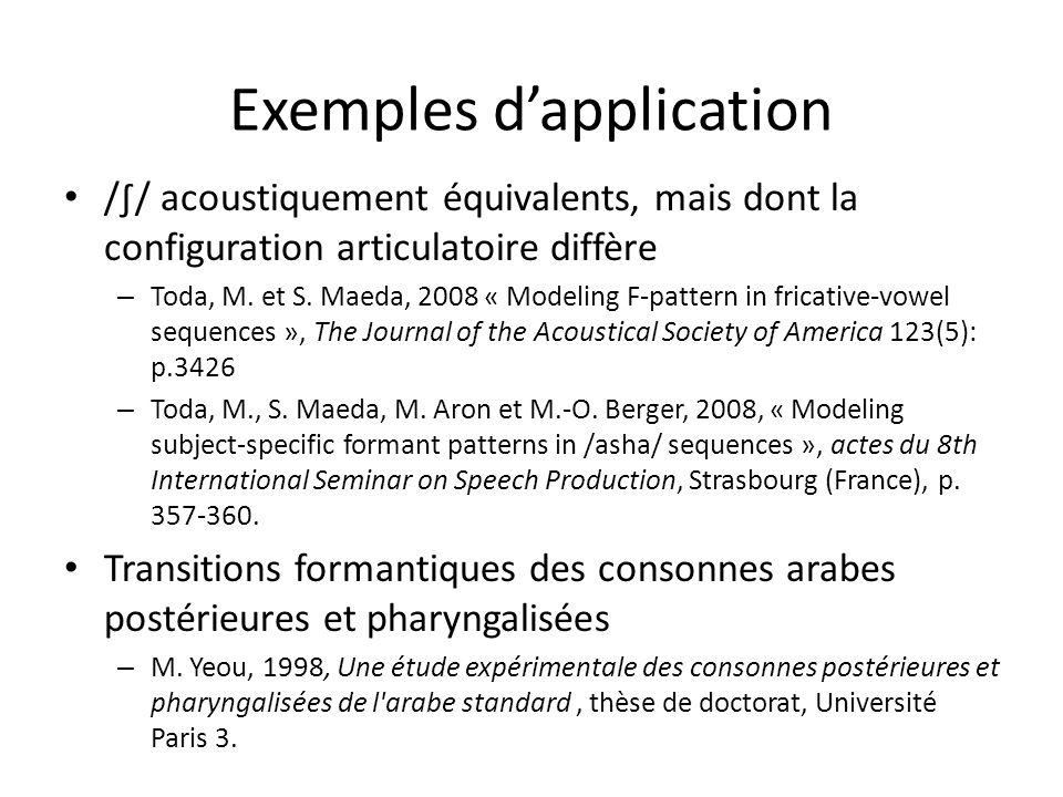 Exemples dapplication // acoustiquement équivalents, mais dont la configuration articulatoire diffère – Toda, M.