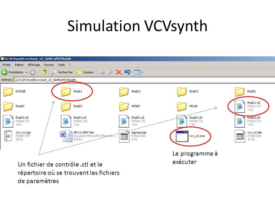 Simulation VCVsynth Le programme à exécuter Un fichier de contrôle.ctl et le répertoire où se trouvent les fichiers de paramètres