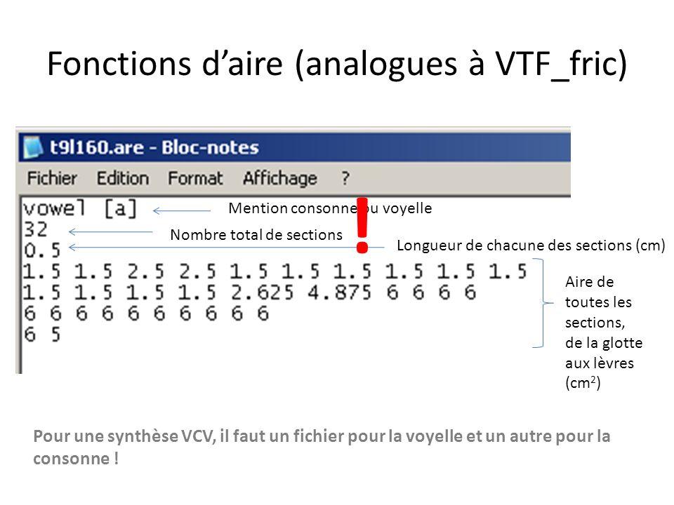 Fonctions daire (analogues à VTF_fric) Mention consonne ou voyelle Nombre total de sections Longueur de chacune des sections (cm) Aire de toutes les sections, de la glotte aux lèvres (cm 2 ) Pour une synthèse VCV, il faut un fichier pour la voyelle et un autre pour la consonne .