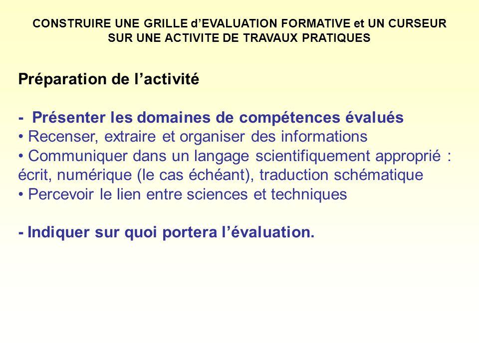 Préparation de lactivité - Présenter les domaines de compétences évalués Recenser, extraire et organiser des informations Communiquer dans un langage