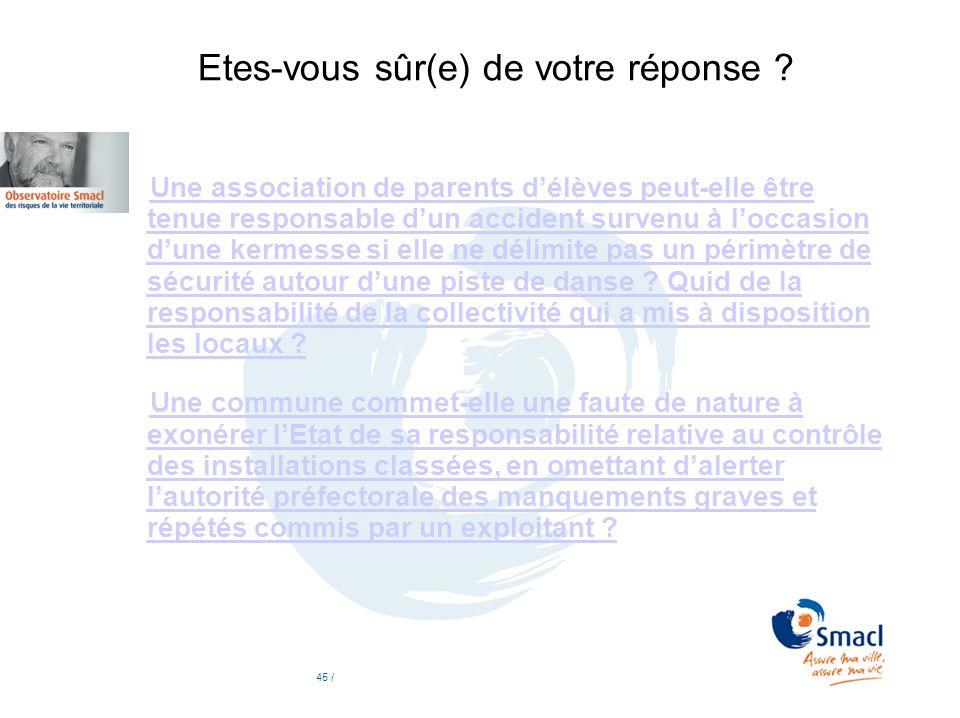 Etes-vous sûr(e) de votre réponse ? Une association de parents délèves peut-elle être tenue responsable dun accident survenu à loccasion dune kermesse