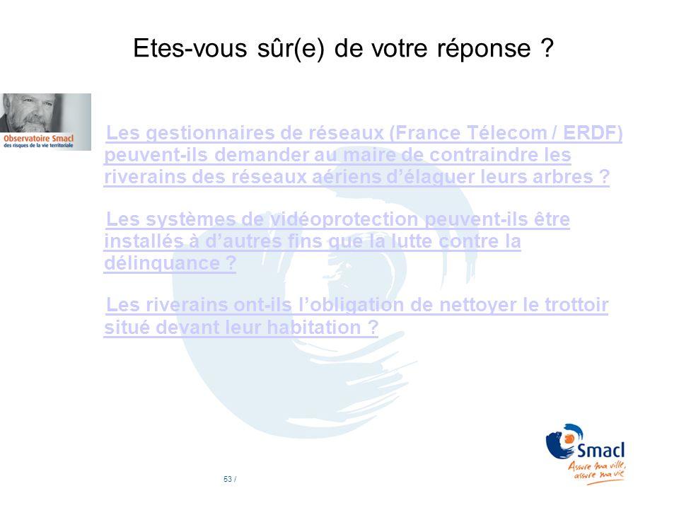 Etes-vous sûr(e) de votre réponse ? Les gestionnaires de réseaux (France Télecom / ERDF) peuvent-ils demander au maire de contraindre les riverains de