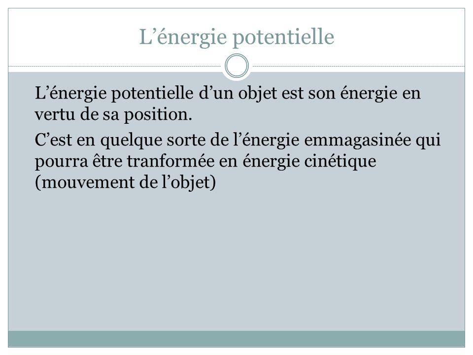 Lénergie potentielle Lénergie potentielle dun objet est son énergie en vertu de sa position. Cest en quelque sorte de lénergie emmagasinée qui pourra