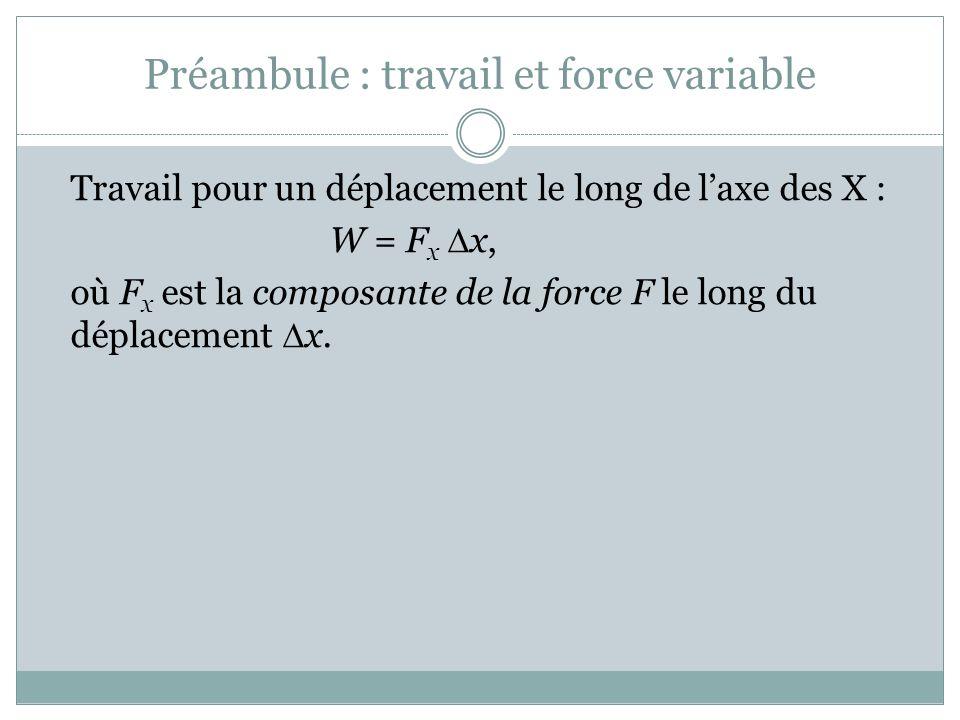 Préambule : travail et force variable Travail pour un déplacement le long de laxe des X : W = F x x, où F x est la composante de la force F le long du