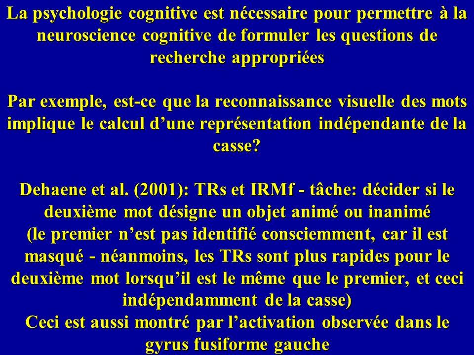 La psychologie cognitive est nécessaire pour permettre à la neuroscience cognitive de formuler les questions de recherche appropriées Par exemple, est