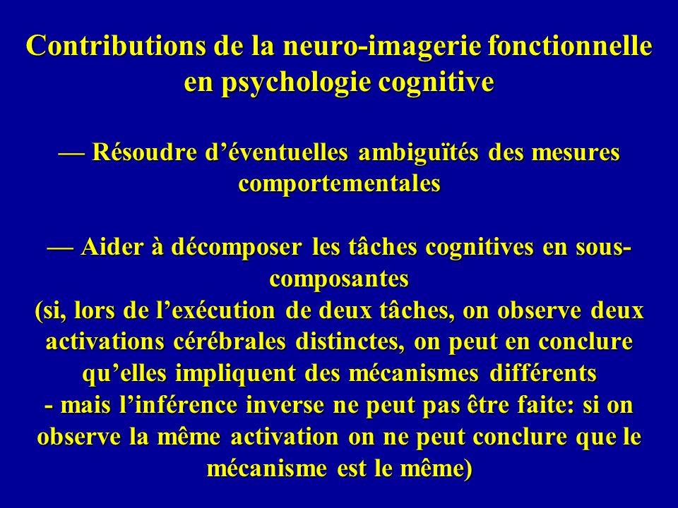 Contributions de la neuro-imagerie fonctionnelle en psychologie cognitive Résoudre déventuelles ambiguïtés des mesures comportementales Aider à décomp