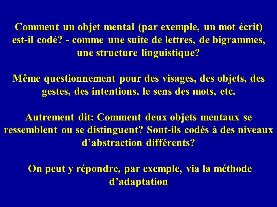 Comment un objet mental (par exemple, un mot écrit) est-il codé? - comme une suite de lettres, de bigrammes, une structure linguistique? Même question