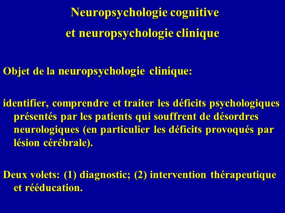 Objet de la neuropsychologie cognitive: la compréhension des processus cognitifs normaux en relation avec la structure cérébrale (à partir de létude de patients présentant un dommage cérébral) La pathologie est une source d information riche et importante: l une des meilleures manières d étudier la structure et le fonctionnement normal du système cognitif est d analyser ce qui se passe quand certaines de ses composantes sont perturbées ou détruites