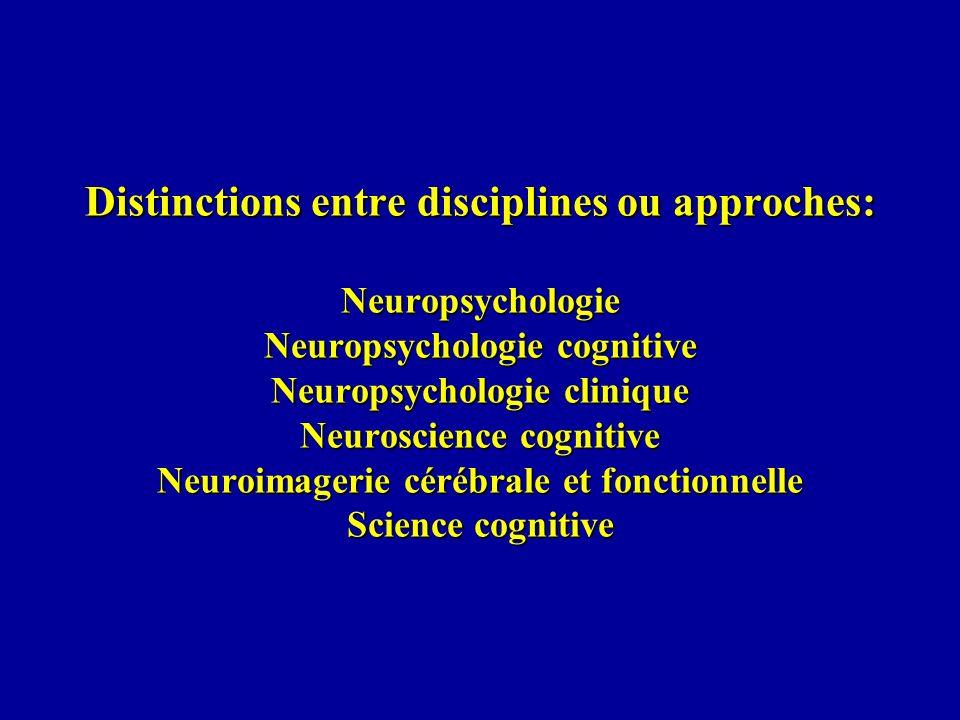 Distinctions entre disciplines ou approches: Neuropsychologie Neuropsychologie cognitive Neuropsychologie clinique Neuroscience cognitive Neuroimageri