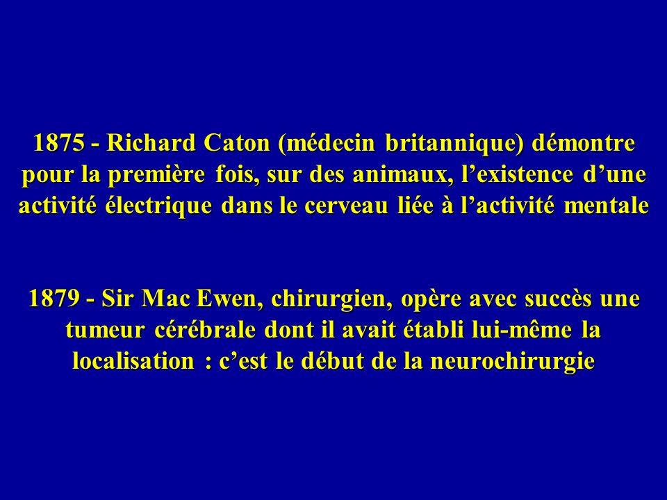 1875 - Richard Caton (médecin britannique) démontre pour la première fois, sur des animaux, lexistence dune activité électrique dans le cerveau liée à