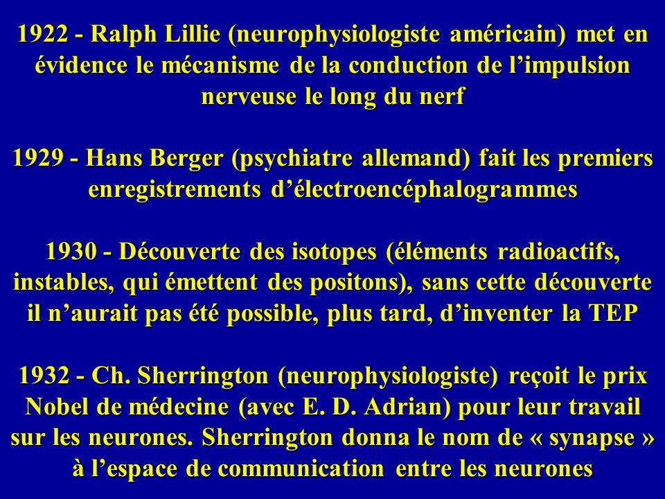 1935 - Stroop (psychologue américain) rapporte un effet qui démontré le caractère irrépressible de la lecture 1936 - découverte des propriétés magnétiques de lhémoglobine, dans le sang ; sans cette découverte, il naurait pas été possible, plus tard, dinventer lIRM 1936 - Egas Moniz, neuropsychiatre, reçoit le Prix Nobel pour avoir développé la psychochirurgie : il a fait opérer des patients psychiatriques (lobotomies frontales) afin daméliorer leur état mental ; les résultats ont eu des conséquences indésirables (apathie, forte diminution de la réactivité et de lintelligence).