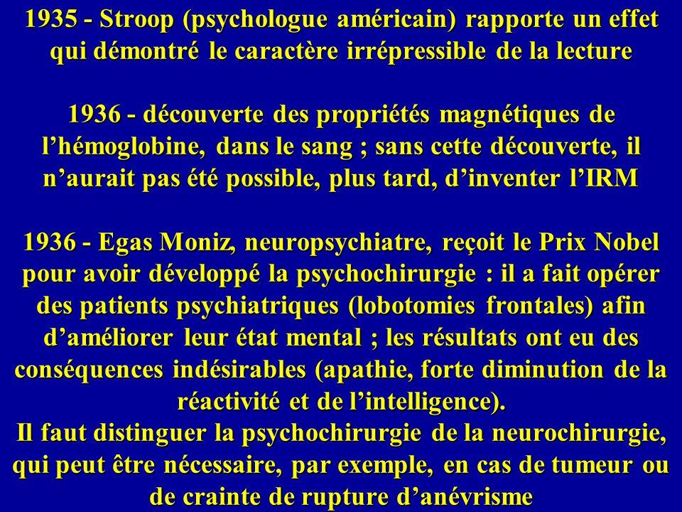1935 - Stroop (psychologue américain) rapporte un effet qui démontré le caractère irrépressible de la lecture 1936 - découverte des propriétés magnéti