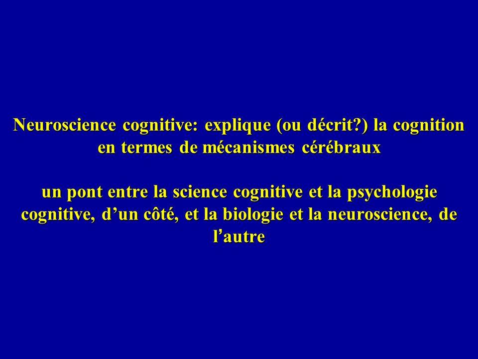 Neuroscience cognitive: explique (ou décrit?) la cognition en termes de mécanismes cérébraux un pont entre la science cognitive et la psychologie cogn
