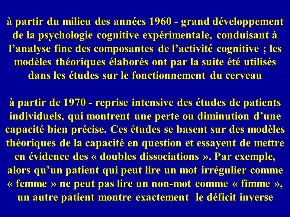 à partir du milieu des années 1960 - grand développement de la psychologie cognitive expérimentale, conduisant à lanalyse fine des composantes de lact