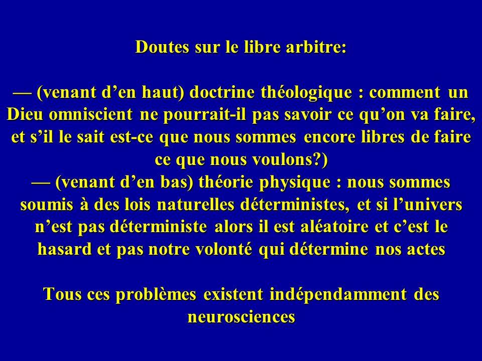 Doutes sur le libre arbitre: (venant den haut) doctrine théologique : comment un Dieu omniscient ne pourrait-il pas savoir ce quon va faire, et sil le
