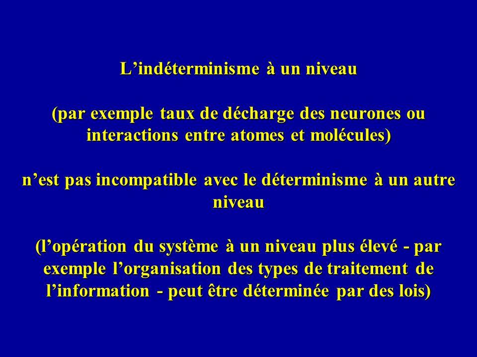 Lindéterminisme à un niveau (par exemple taux de décharge des neurones ou interactions entre atomes et molécules) nest pas incompatible avec le déterm