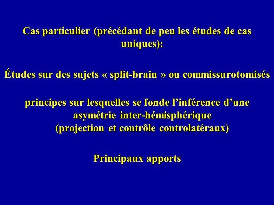 Cas particulier (précédant de peu les études de cas uniques): Études sur des sujets « split-brain » ou commissurotomisés principes sur lesquelles se f