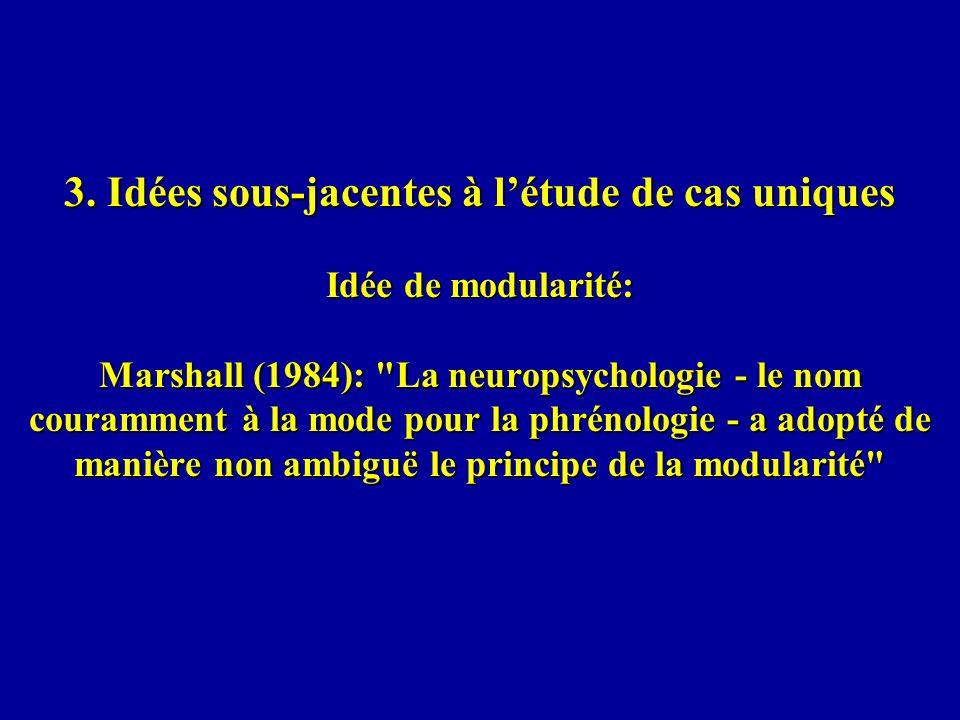3. Idées sous-jacentes à létude de cas uniques Idée de modularité: Marshall (1984):