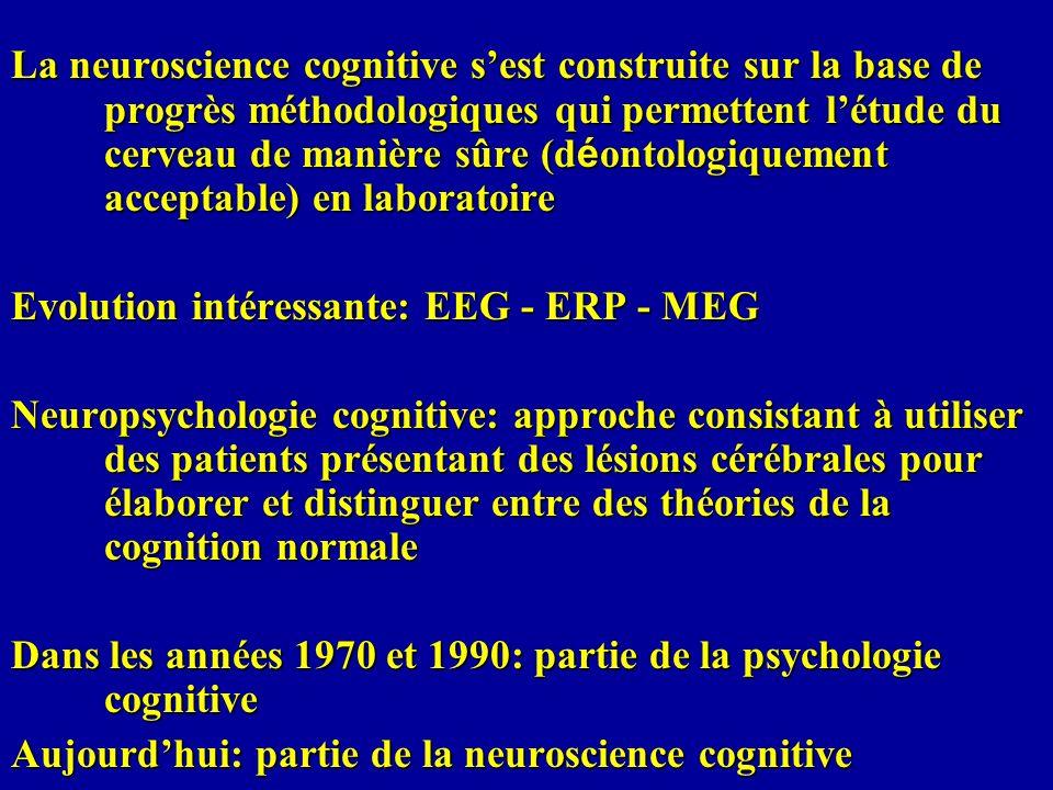 La neuroscience cognitive sest construite sur la base de progrès méthodologiques qui permettent létude du cerveau de manière sûre (d é ontologiquement