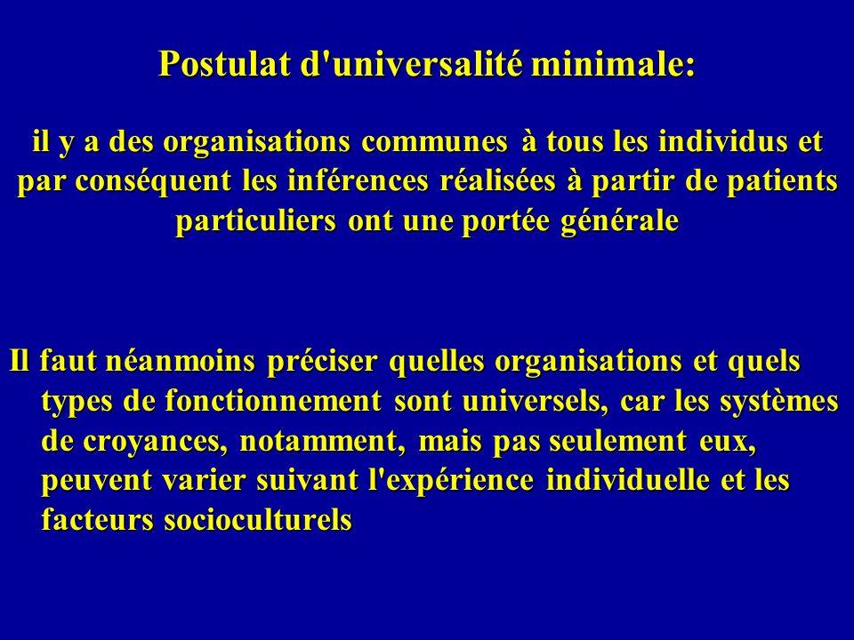 Postulat d'universalité minimale: il y a des organisations communes à tous les individus et par conséquent les inférences réalisées à partir de patien