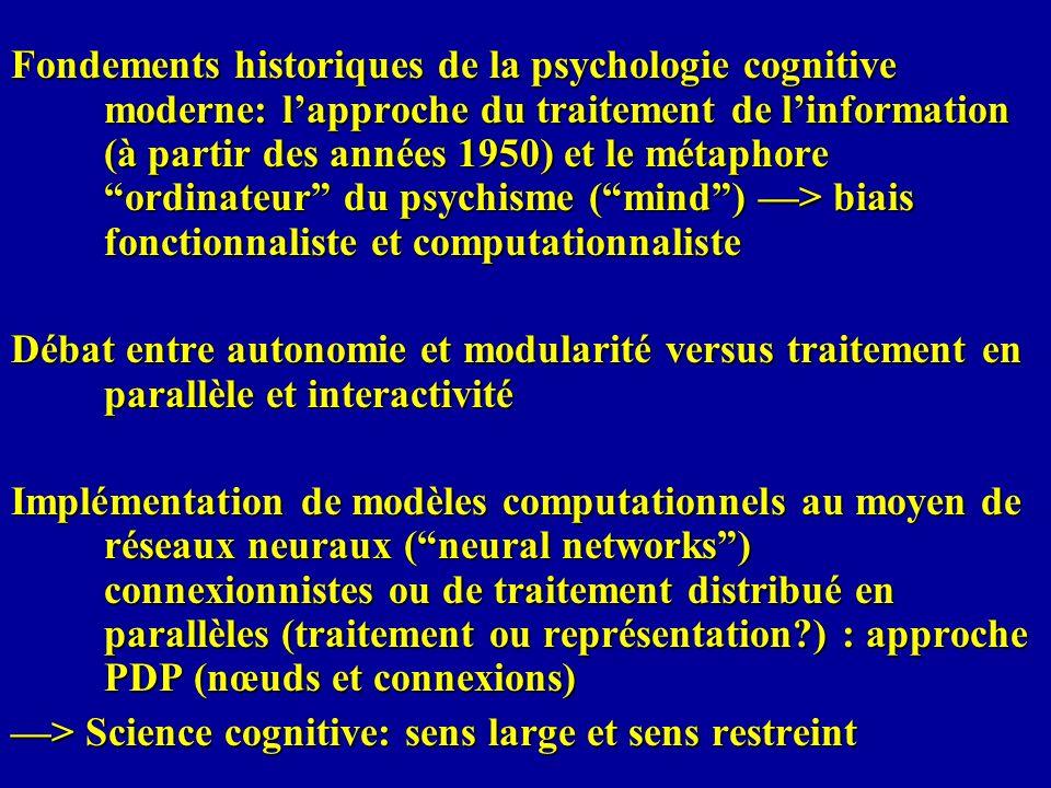 Fondements historiques de la psychologie cognitive moderne: lapproche du traitement de linformation (à partir des années 1950) et le métaphore ordinat