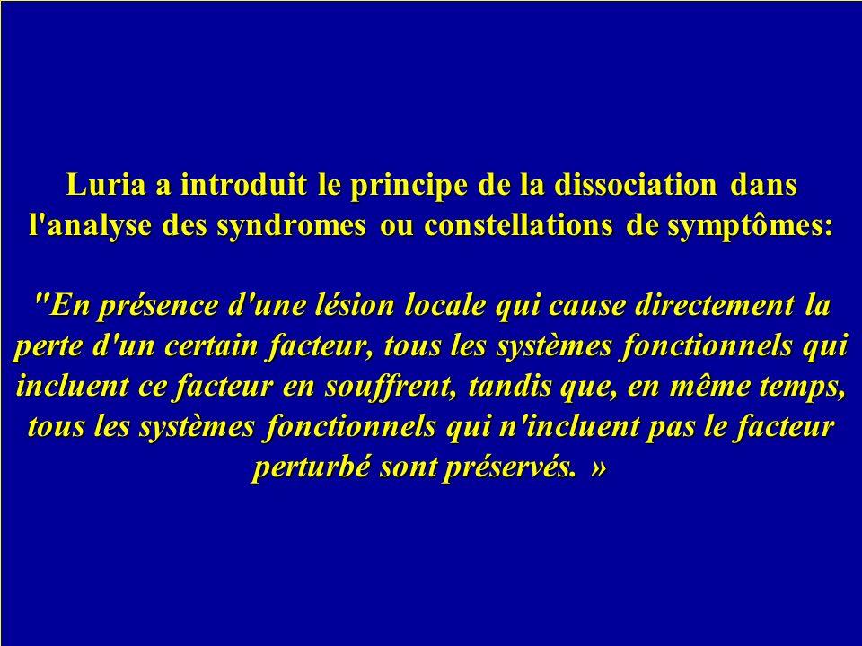 Luria a introduit le principe de la dissociation dans l'analyse des syndromes ou constellations de symptômes: