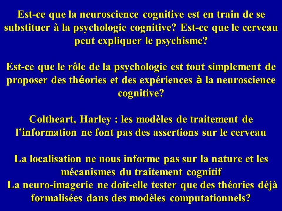 Est-ce que la neuroscience cognitive est en train de se substituer à la psychologie cognitive? Est-ce que le cerveau peut expliquer le psychisme? Est-
