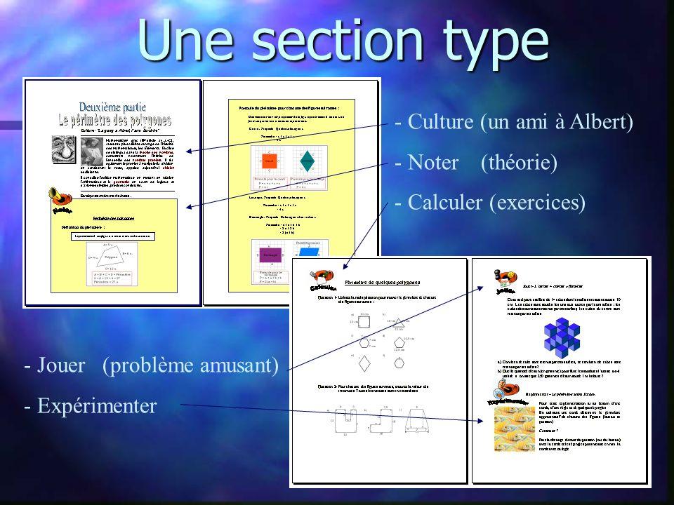 Une section type - Culture (un ami à Albert) - Noter (théorie) - Calculer (exercices) - Jouer (problème amusant) - Expérimenter