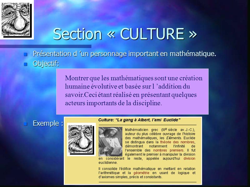 n Présentation d un personnage important en mathématique. n Objectif: n Exemple : Section « CULTURE » Montrer que les mathématiques sont une création