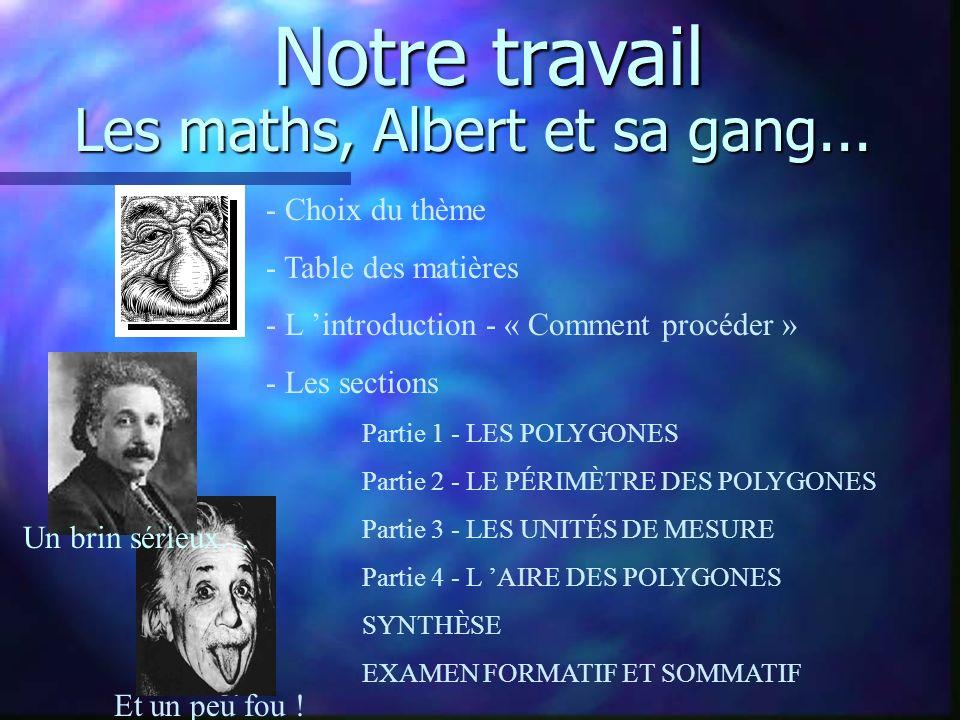 Les maths, Albert et sa gang... - Choix du thème - Table des matières - L introduction - « Comment procéder » - Les sections Partie 1 - LES POLYGONES