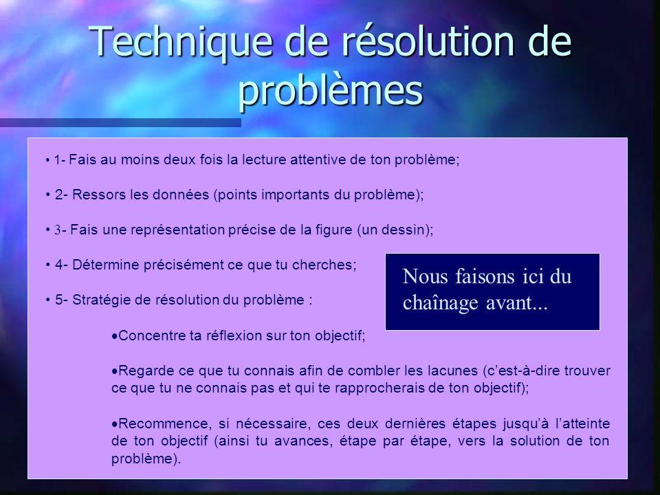 Technique de résolution de problèmes 1- Fais au moins deux fois la lecture attentive de ton problème; 2- Ressors les données (points importants du pro