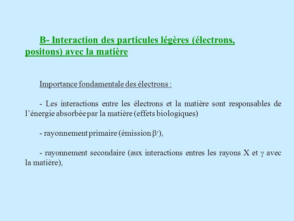 B- Interaction des particules légères (électrons, positons) avec la matière Importance fondamentale des électrons : - Les interactions entre les électrons et la matière sont responsables de lénergie absorbée par la matière (effets biologiques) - rayonnement primaire (émission - ), - rayonnement secondaire (aux interactions entres les rayons X et avec la matière),