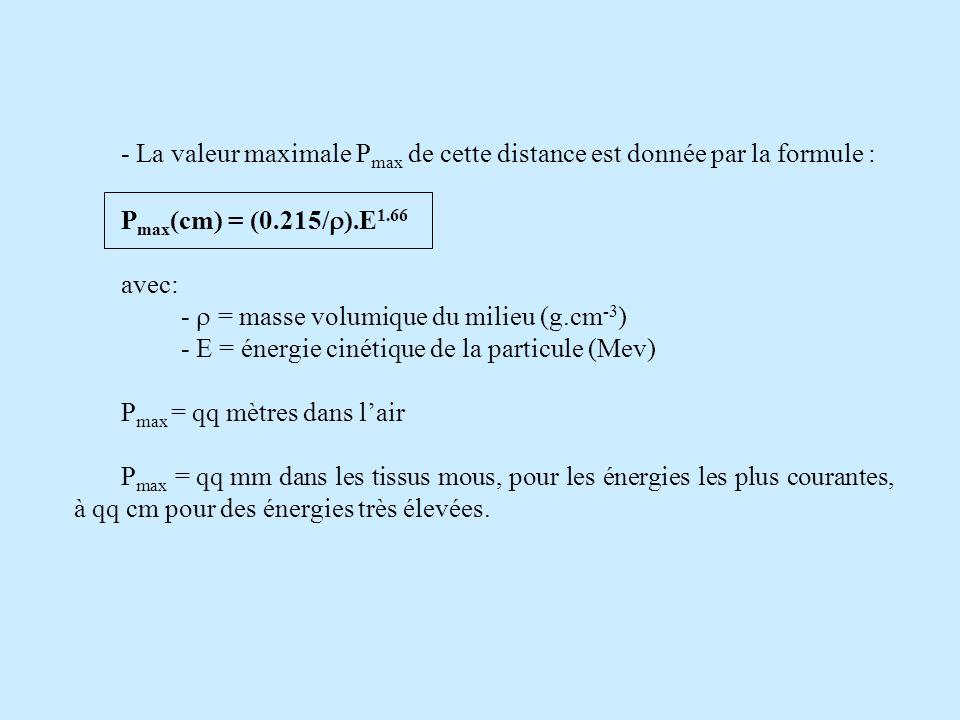 - La valeur maximale P max de cette distance est donnée par la formule : P max (cm) = (0.215/ ).E 1.66 avec: - = masse volumique du milieu (g.cm -3 ) - E = énergie cinétique de la particule (Mev) P max = qq mètres dans lair P max = qq mm dans les tissus mous, pour les énergies les plus courantes, à qq cm pour des énergies très élevées.