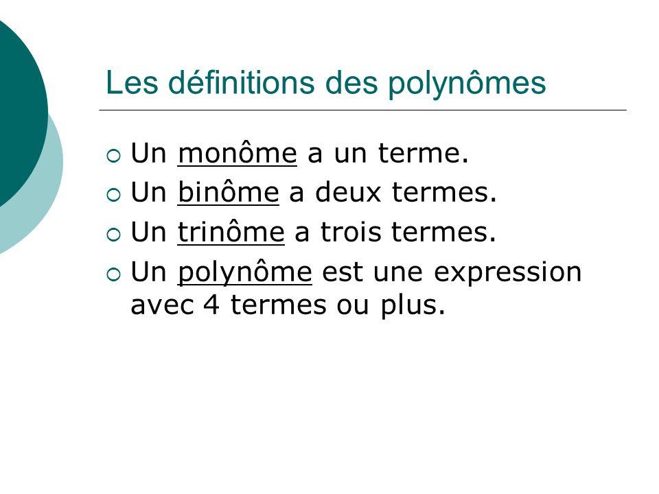 Les définitions des polynômes Un monôme a un terme. Un binôme a deux termes. Un trinôme a trois termes. Un polynôme est une expression avec 4 termes o
