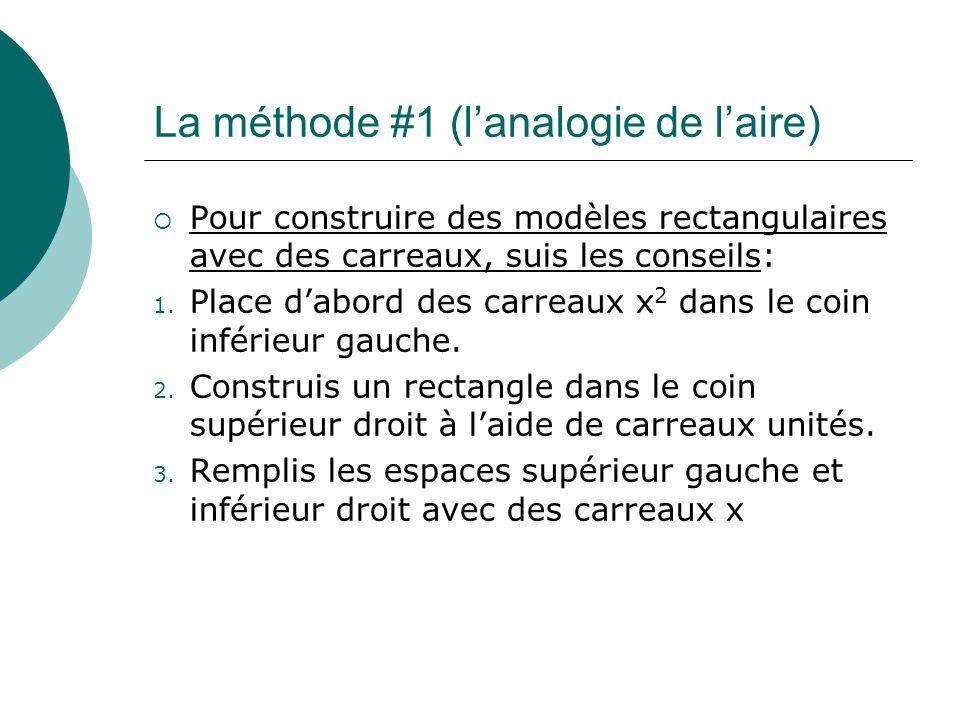 La méthode #1 (lanalogie de laire) Pour construire des modèles rectangulaires avec des carreaux, suis les conseils: 1. Place dabord des carreaux x 2 d