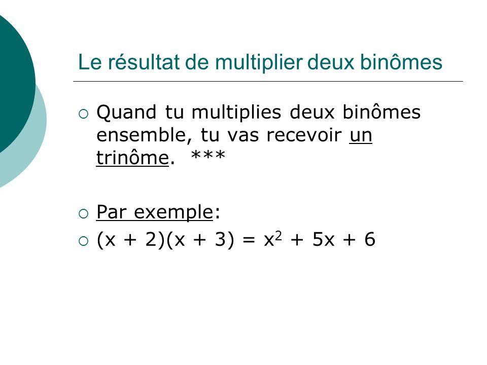 Le résultat de multiplier deux binômes Quand tu multiplies deux binômes ensemble, tu vas recevoir un trinôme. *** Par exemple: (x + 2)(x + 3) = x 2 +