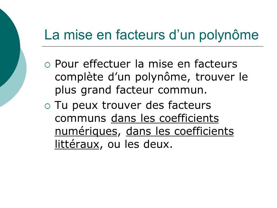 La mise en facteurs dun polynôme Pour effectuer la mise en facteurs complète dun polynôme, trouver le plus grand facteur commun. Tu peux trouver des f