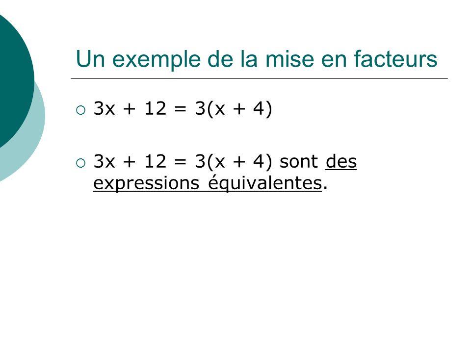Un exemple de la mise en facteurs 3x + 12 = 3(x + 4) 3x + 12 = 3(x + 4) sont des expressions équivalentes.