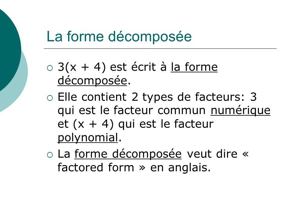 La forme décomposée 3(x + 4) est écrit à la forme décomposée. Elle contient 2 types de facteurs: 3 qui est le facteur commun numérique et (x + 4) qui