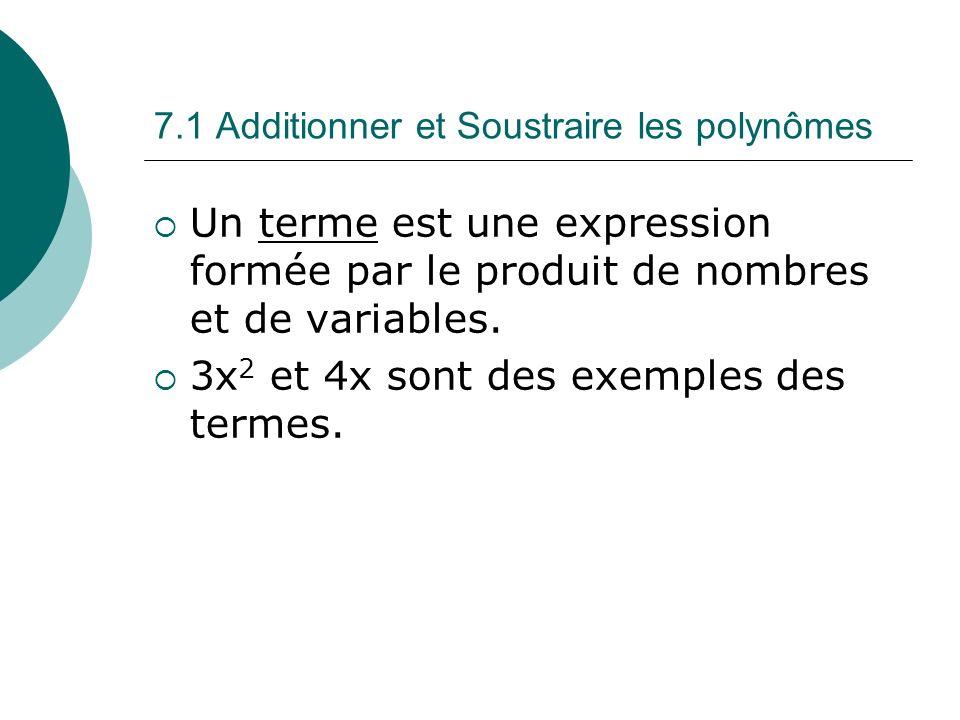7.1 Additionner et Soustraire les polynômes Un terme est une expression formée par le produit de nombres et de variables. 3x 2 et 4x sont des exemples